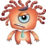 Octopus Monster Cartoon Vector Character AKA Mister Octo-monster - Sad