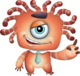 Octopus Monster Cartoon Vector Character AKA Mister Octo-monster - Attention
