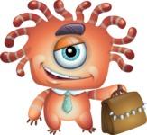 Octopus Monster Cartoon Vector Character AKA Mister Octo-monster - Briefcase