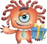 Octopus Monster Cartoon Vector Character AKA Mister Octo-monster - Gift