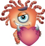 Octopus Monster Cartoon Vector Character AKA Mister Octo-monster - Love