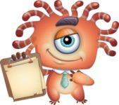 Octopus Monster Cartoon Vector Character AKA Mister Octo-monster - Note 3