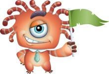 Octopus Monster Cartoon Vector Character AKA Mister Octo-monster - Flag
