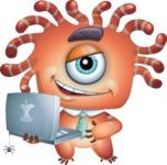 Octopus Monster Cartoon Vector Character AKA Mister Octo-monster - Laptop 2