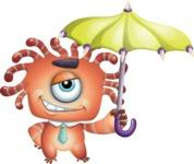Octopus Monster Cartoon Vector Character AKA Mister Octo-monster - Umbrella