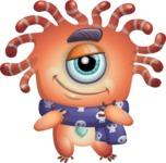 Octopus Monster Cartoon Vector Character AKA Mister Octo-monster - Scarf