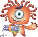Octopus Monster Cartoon Vector Character AKA Mister Octo-monster - Keyboard