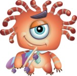 Octopus Monster Cartoon Vector Character AKA Mister Octo-monster - Skateboard 2