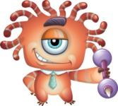 Octopus Monster Cartoon Vector Character AKA Mister Octo-monster - Strong