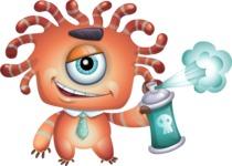 Octopus Monster Cartoon Vector Character AKA Mister Octo-monster - Spray