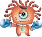 Octopus Monster Cartoon Vector Character AKA Mister Octo-monster - Boxing