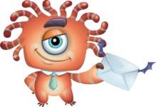 Octopus Monster Cartoon Vector Character AKA Mister Octo-monster - Letter