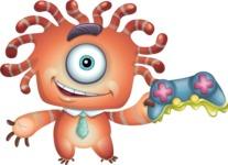 Octopus Monster Cartoon Vector Character AKA Mister Octo-monster - Joystick