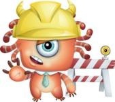 Octopus Monster Cartoon Vector Character AKA Mister Octo-monster - Construction