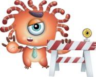 Octopus Monster Cartoon Vector Character AKA Mister Octo-monster - Construction 2