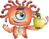 Octopus Monster Cartoon Vector Character AKA Mister Octo-monster - Apple