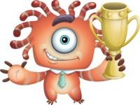 Octopus Monster Cartoon Vector Character AKA Mister Octo-monster - Trophy