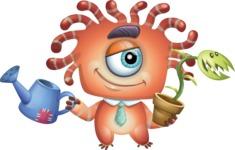 Octopus Monster Cartoon Vector Character AKA Mister Octo-monster - Plant