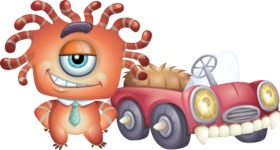 Octopus Monster Cartoon Vector Character AKA Mister Octo-monster - Monster Car