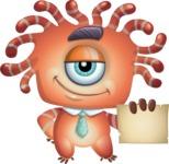 Octopus Monster Cartoon Vector Character AKA Mister Octo-monster - Sign 1