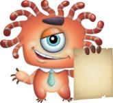 Octopus Monster Cartoon Vector Character AKA Mister Octo-monster - Sign 2