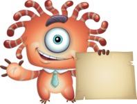 Octopus Monster Cartoon Vector Character AKA Mister Octo-monster - Sign 5