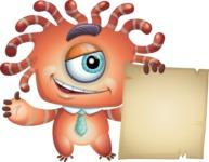 Octopus Monster Cartoon Vector Character AKA Mister Octo-monster - Sign 6