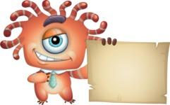 Octopus Monster Cartoon Vector Character AKA Mister Octo-monster - Sign 7