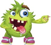 Funny Monster Cartoon Vector Character AKA Hal the Messy Pal - Point 2