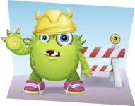 Funny Monster Cartoon Vector Character AKA Hal the Messy Pal - Shape 4