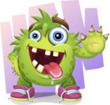 Funny Monster Cartoon Vector Character AKA Hal the Messy Pal - Shape 6