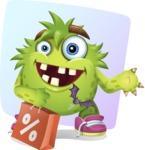 Funny Monster Cartoon Vector Character AKA Hal the Messy Pal - Shape 7