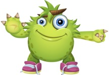 Funny Monster Cartoon Vector Character AKA Hal the Messy Pal - Direct Attention