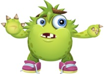 Funny Monster Cartoon Vector Character AKA Hal the Messy Pal - Direct Attention 2