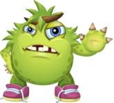 Funny Monster Cartoon Vector Character AKA Hal the Messy Pal - Stop
