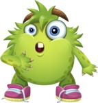 Funny Monster Cartoon Vector Character AKA Hal the Messy Pal - Stunned