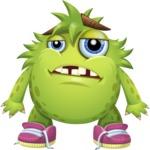 Funny Monster Cartoon Vector Character AKA Hal the Messy Pal - Sad