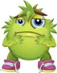 Funny Monster Cartoon Vector Character AKA Hal the Messy Pal - Sad 2