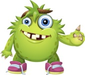 Funny Monster Cartoon Vector Character AKA Hal the Messy Pal - Attention
