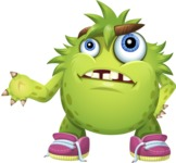 Funny Monster Cartoon Vector Character AKA Hal the Messy Pal - Roll Eyes