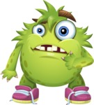 Funny Monster Cartoon Vector Character AKA Hal the Messy Pal - Confused