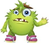 Funny Monster Cartoon Vector Character AKA Hal the Messy Pal - Goddbye