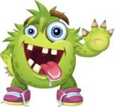 Funny Monster Cartoon Vector Character AKA Hal the Messy Pal - Hello