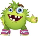Funny Monster Cartoon Vector Character AKA Hal the Messy Pal - Thumbs Up