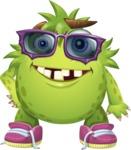 Funny Monster Cartoon Vector Character AKA Hal the Messy Pal - Sunglasses