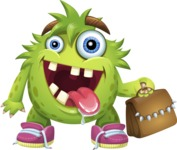 Funny Monster Cartoon Vector Character AKA Hal the Messy Pal - Briefcase