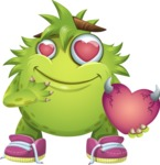 Funny Monster Cartoon Vector Character AKA Hal the Messy Pal - Show Love