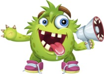 Funny Monster Cartoon Vector Character AKA Hal the Messy Pal - Loudspeaker