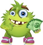 Funny Monster Cartoon Vector Character AKA Hal the Messy Pal - Show me the Money