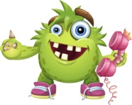 Funny Monster Cartoon Vector Character AKA Hal the Messy Pal - Support 2
